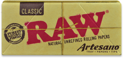 RAW Classic King-Size Slim Artesano Rolling Papers with Tips and Tray (15 Pack)