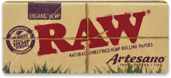 Raw Organic Hemp Artesano King-Size Slim Rolling Papers with Tips and Tray (15 Pack)
