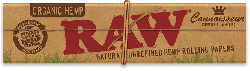 Raw Organic Hemp Connoisseur King-Size Slim Rolling Papers with Tips (24 Pack)
