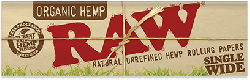 RAW Organic Hemp Single Width Rolling Papers (50 Pack)